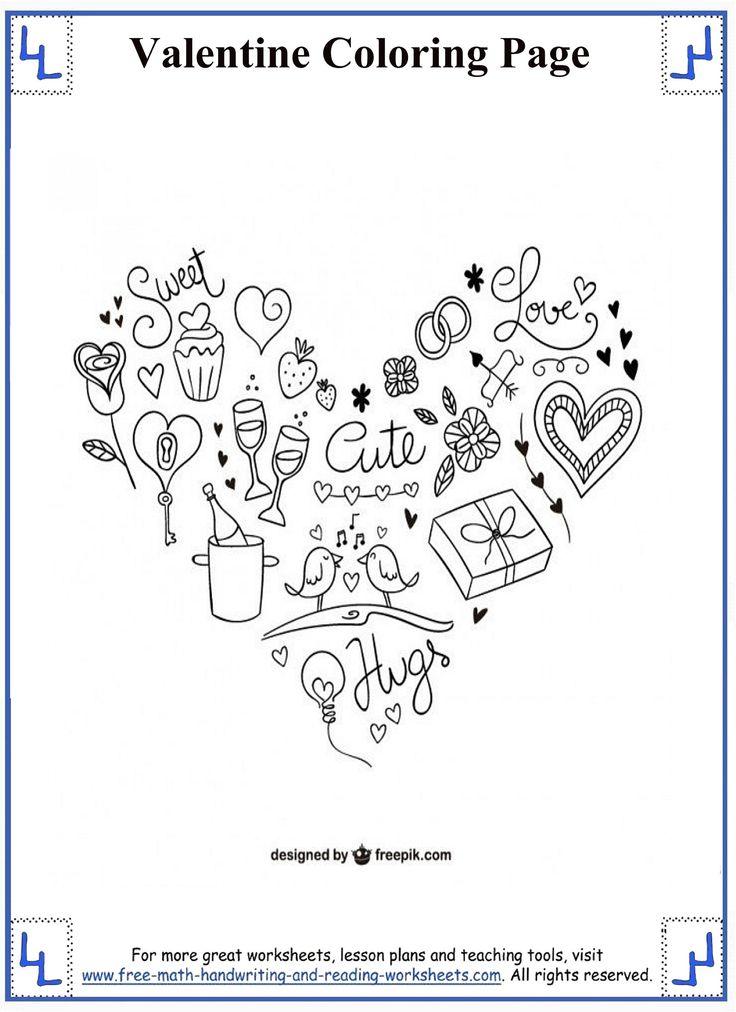 12 best Valentine Coloring Pages images on Pinterest  Valentine