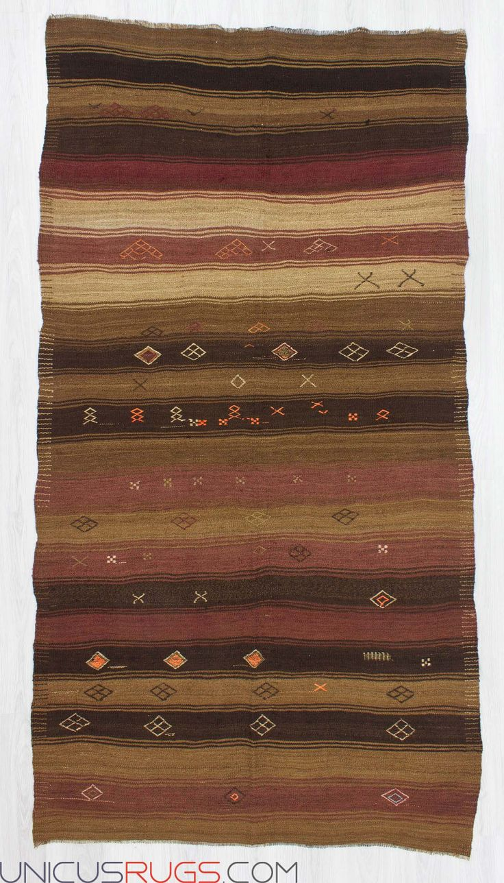 """Vintage striped kilim rug from Malatya region of Turkey.İn good condition.Approximately 50-60 years old Width: 4' 10"""" - Length: 9' 1"""" Striped Kilims"""