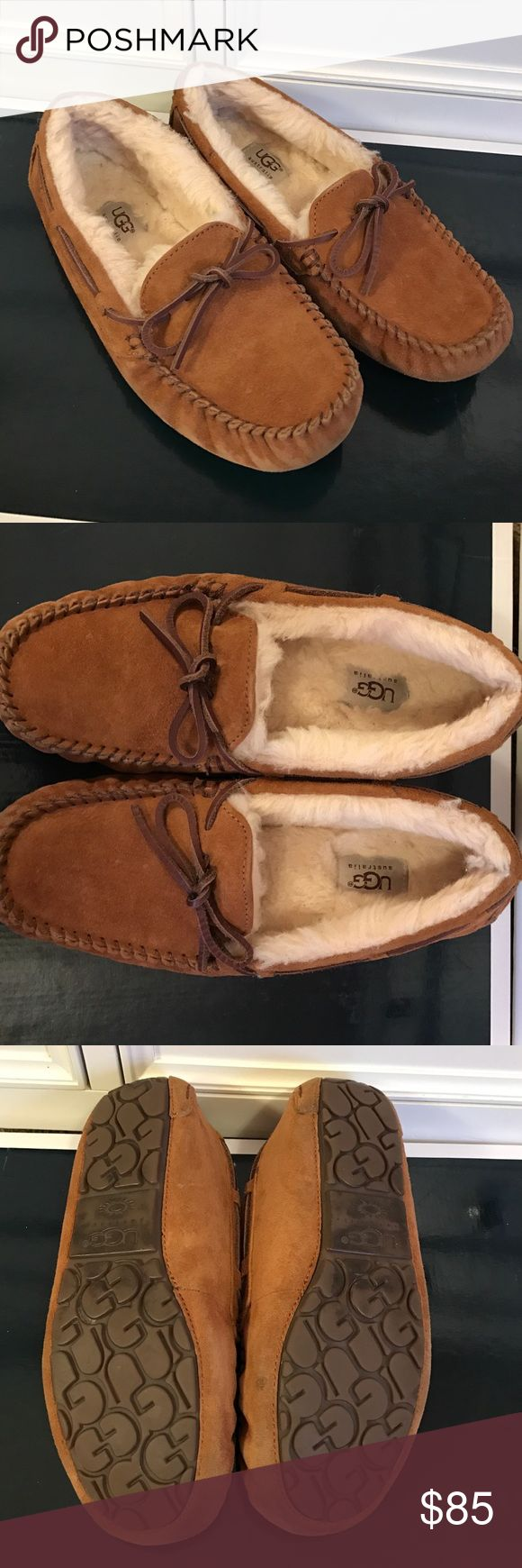 Chestnut Ugg Dakota Slipper Moccasins Size 8, chestnut color Ugg moccasins, in great condition. Dakota style slippers. 100% authentic. Only sign of wear is slight discoloration at the bottom of the shoes shown in picture 4. Note: does not include original box. Great purchase for the winter! ❄️ UGG Shoes Moccasins
