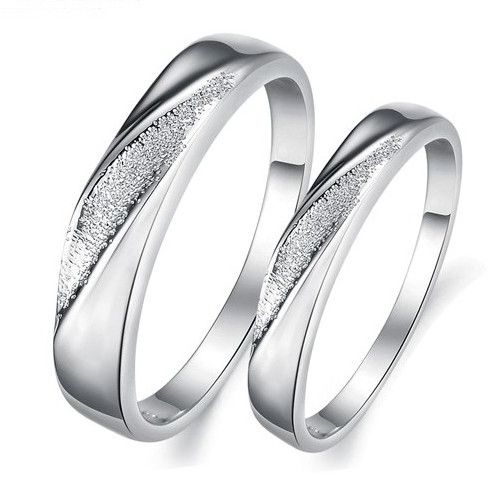 Silver Frosted Silver Alloy Couple Rings- Women-Size 10