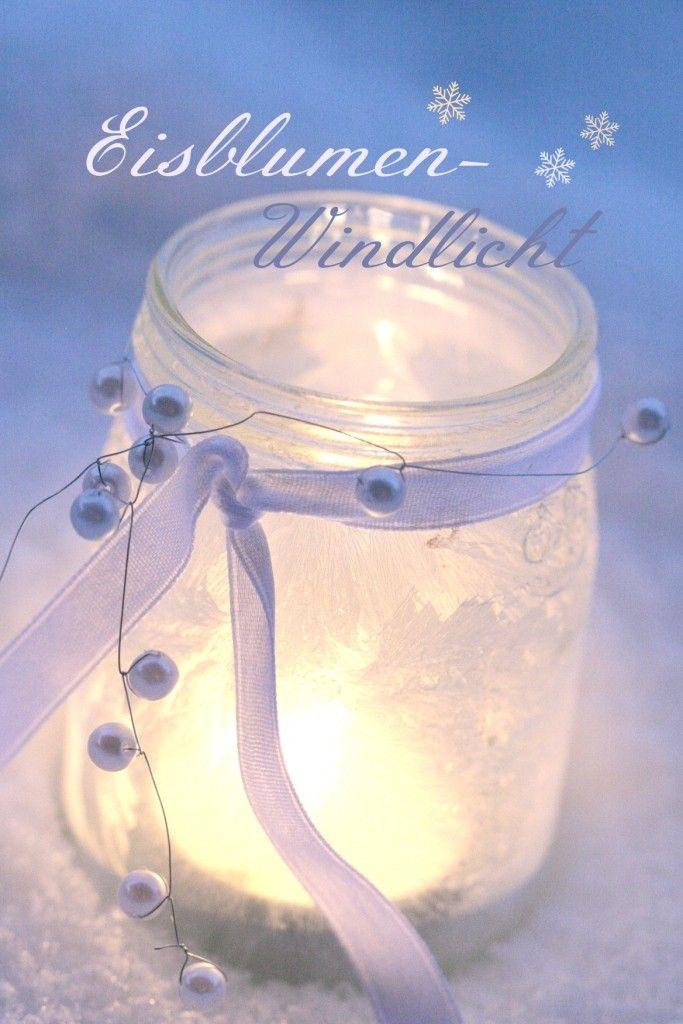 Windlichter mit Eisblumenspray