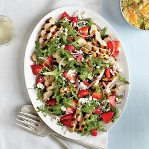 This Grilled Chicken Salad with Strawberries and Feta would be a great dinner or make ahead lunch while strawberries are in season. Try it with goat cheese too!