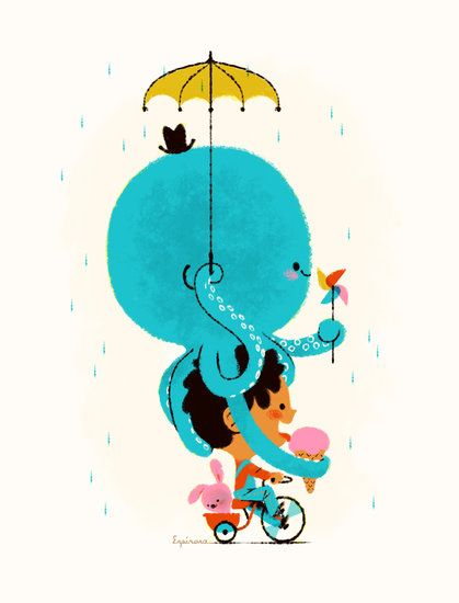 Sweet octopus holding umbrella and riding on top of boys head while riding a bicycle. 2013 espinosa octopus1 419 xxx q85