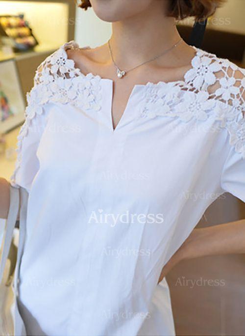 Llanura Casuales Algodón Cuello redondo La mitad de manga Camisas de (1036313) @