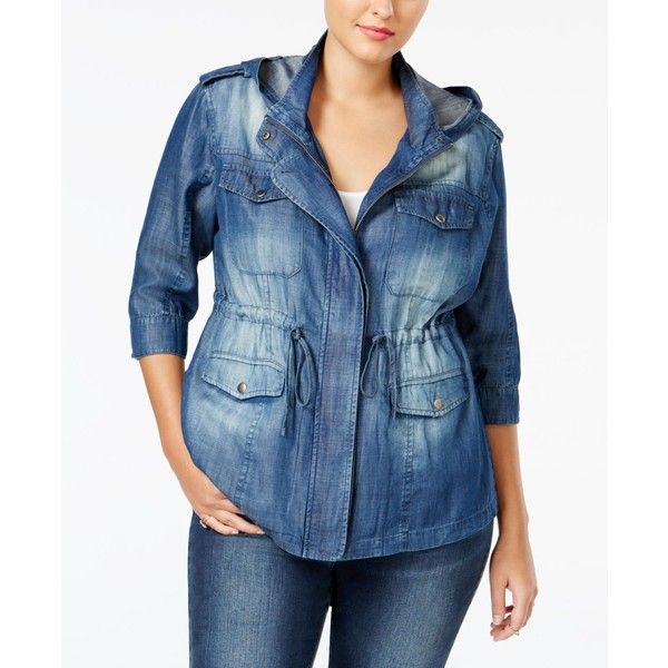 Standards and Practices Trendy Plus Size Denim Utility Jacket (125 CAD) ❤ liked on Polyvore featuring plus size women's fashion, plus size clothing, plus size outerwear, plus size jackets, medium blue, women's plus size denim jacket, denim jacket, women's plus size jackets, denim utility jacket and plus size utility jacket