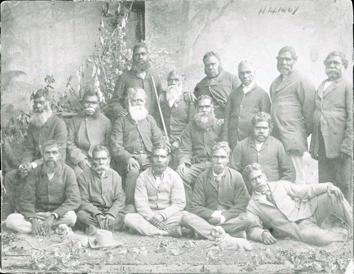 A group of men at Coranderrk Station, Healesville<br>where William Barak lived<br />(Culture-Victoria collection)<br /><br />