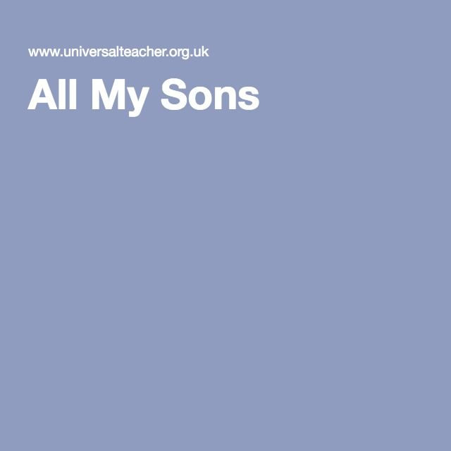 "All My Sons - lesson unit found here: http://www.universalteacher.org.uk/gcse/allmysons.htm Play by Arthur Miller - origin of the band name for ""Twenty One Pilots"""