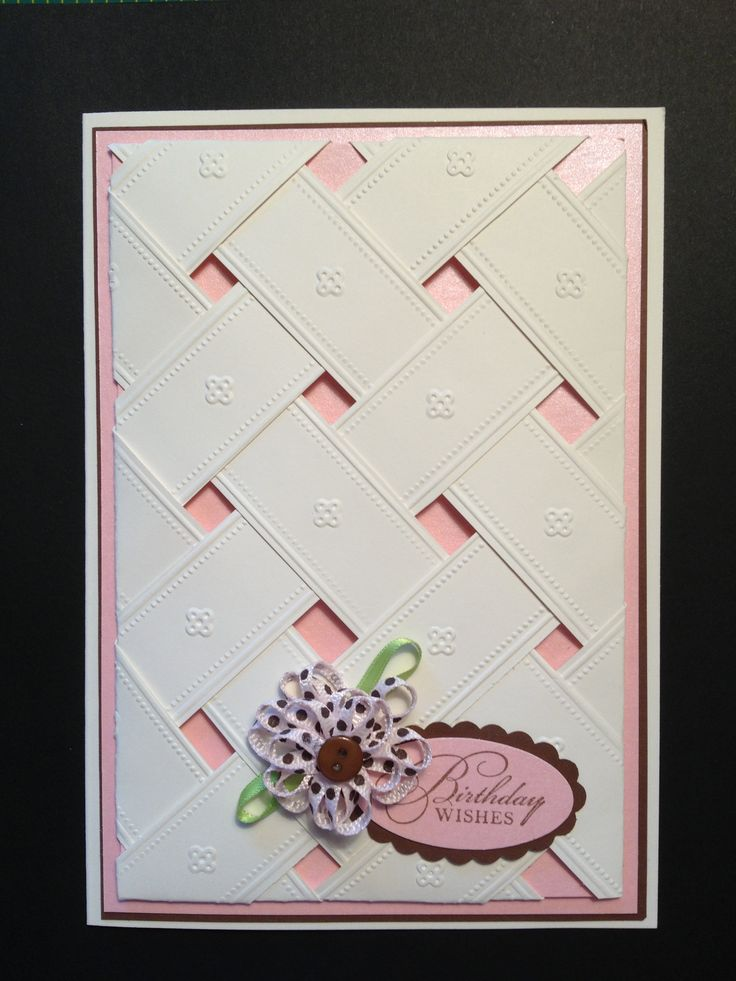 Cuttlebug Embossing folder - Anna Griffin; Stampin' Up Watercolor Trio stamp set - Birthday Wishes; Stampin' Up small oval and scallop oval punch; Offray ribbon flower; The Paper Cut Cream cardstock
