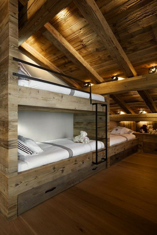 Attic Room with great wood and lighting.
