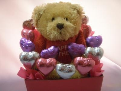 - Mini Happy Birthday Bear with Happy Birthday embroidered on jumper - Chocolate hearts in pink, purple & silver