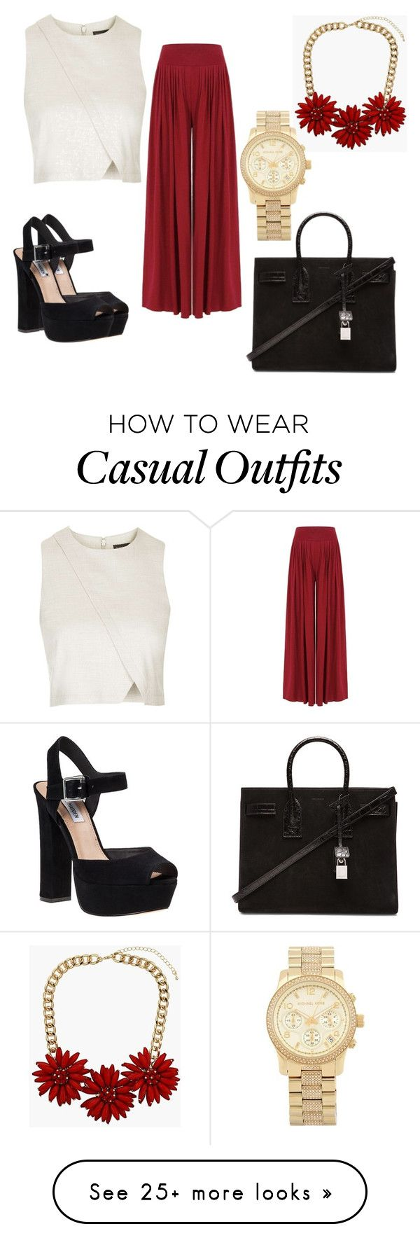 """""""casual"""" by diianasilva on Polyvore featuring Topshop, Steve Madden, Yves Saint Laurent and Michael Kors"""