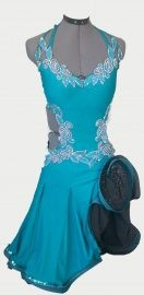 Blauwe latinjurk | TE KOOP AANGEBODEN! wedstrijdkleding dames | DeJo`s Danceworld