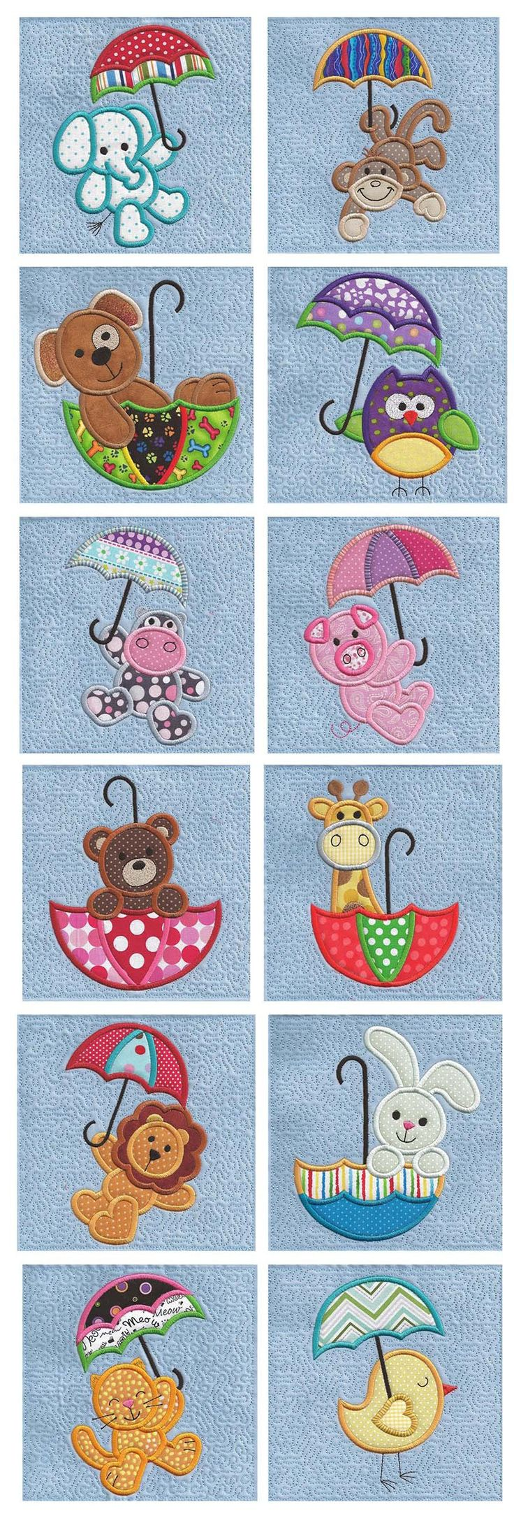 Cute Umbrella Critters Applique design set available for instant download at www.designsbyjuju.com