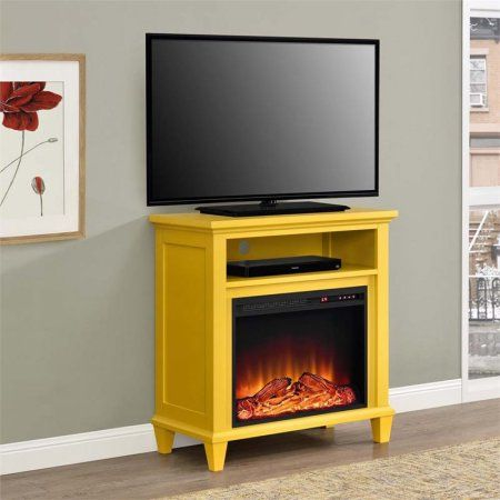 Altra Ellington 32 inch TV Stand with Fireplace, Multiple Colors, Yellow