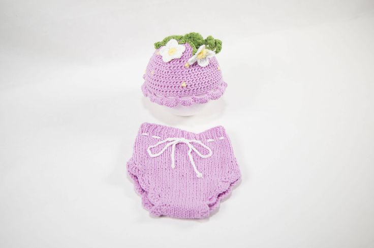knit newborn- baby girl little pink flower outfit-newborn props-crochet outfits by plusprops on Etsy