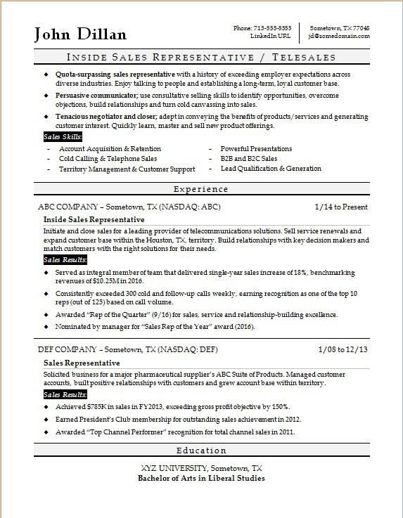 Sample Resume For An Inside Sales Rep Sales Resume Sales Resume Examples Resume Objective Examples