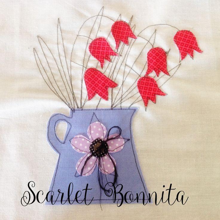 Flower vase Applique www.facebook.com/scarletbonnita