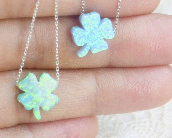 #Opal four leaf clover silver necklace, leafage, lucky amulet, good luck charm, #gift to girlfriend, talisman, Turkish spell, #ancient superstition, sterling silver chain petite gift, Baby blue opal, opal necklace, petite necklace, ball necklace, round opal necklace, opal jewelry, something blue, natural