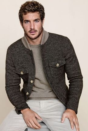 Men's Charcoal Wool Bomber Jacket, Grey Crew-neck Sweater, Beige Chinos