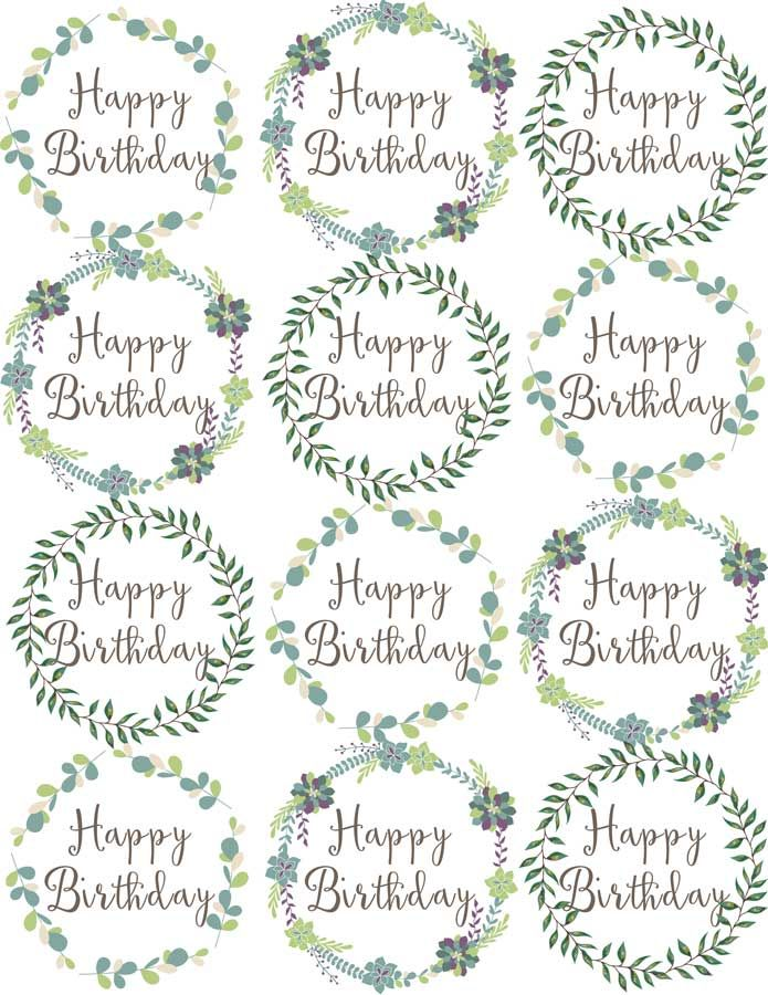 Woodland Flowers Cupcake Toppers Are Easy Cake Decorations For Birthday Printable Cupcake Toppers Birthday Birthday Cake Topper Printable Cupcake Toppers Free