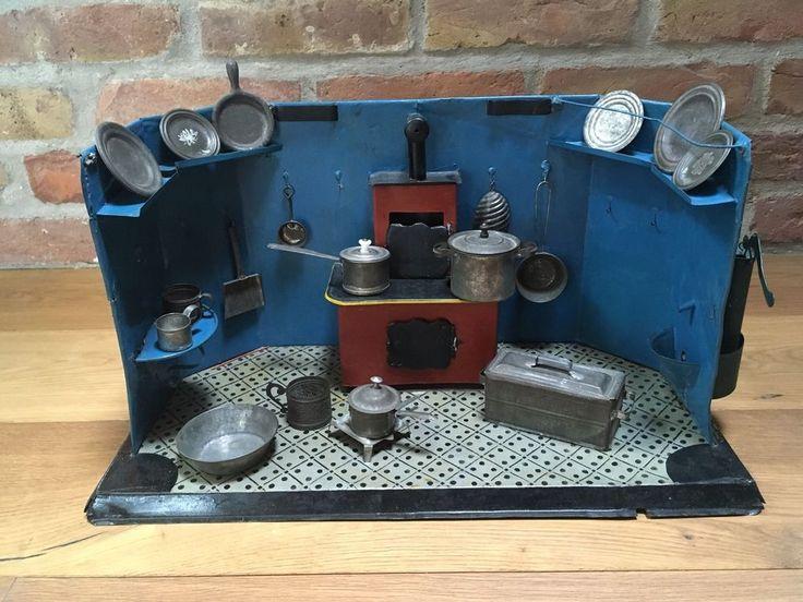 Puppenküche Blech, vor 1900, mit Wasserpumpe und Kochherd, Buch Blechküchen,  | eBay