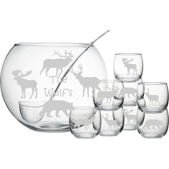 Personalized Moose Bear Deer Elk Punch Bowl Set Sand Carved (sandcarved) Great for any Cabin