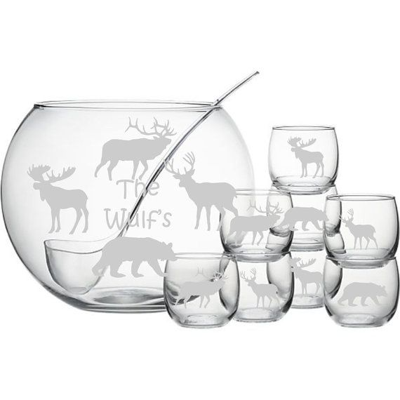 Personalized Moose Bear Deer Elk Punch Bowl by WulfsExpressions, $144.95