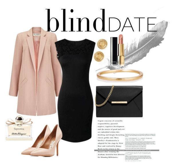 Blind Date by neeacamillaa on Polyvore featuring Miss Selfridge, Salvatore Ferragamo, MICHAEL Michael Kors, LUMO, Versace, Chanel, women's clothing, women's fashion, women and female