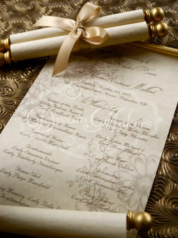Scroll Wedding Programs by DreamMakersInvites on Etsy