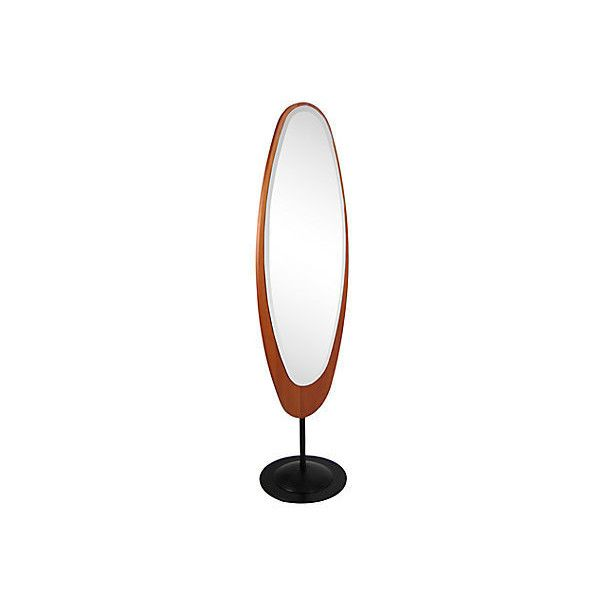 Pre-Owned Midcentury Italian Standing Floor Mirror ($2,215) ❤ liked on Polyvore featuring home, home decor, mirrors, oval wall mirror, black cheval mirror, oval mirror, brown mirror and beveled wall mirror