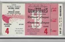 1959 dodgers world series ticket stub - game 4 - high grade