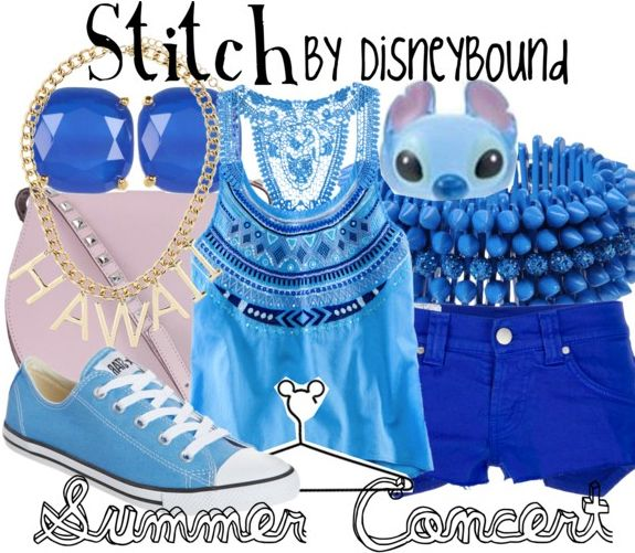 This fun Stitch outfit is great for a hot summer day.   Disney Fashion   Disney Fashion Outfits   Disney Outfits   Disney Outfits Ideas   Disneybound Outfits    Lilo and Stitch  