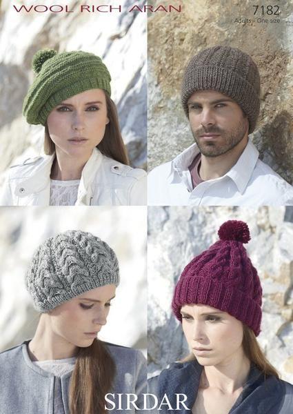 Hats in Sirdar Wool Rich Aran (7182) – Deramores