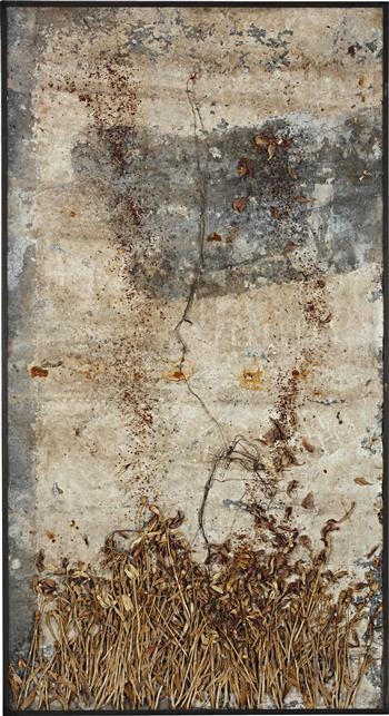 """Hommage à Omar Khayyám"" 2002 Anselm Kiefer. Emulsion, dried flowers, iron elements and charcoal on lead in artist's frame; 95¼ x 51⅞ in (241.9 x 131.8 cm)"