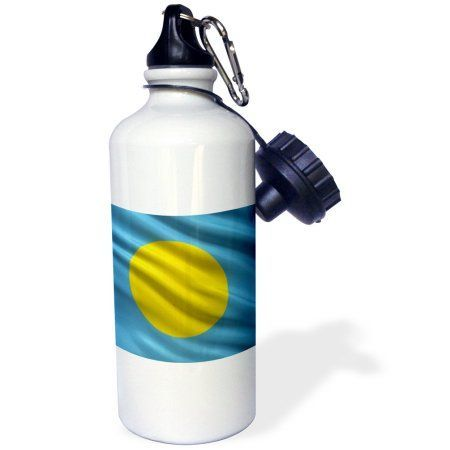 3dRose Flag of Palau waving in the wind, Sports Water Bottle, 21oz