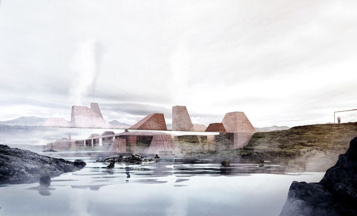 The buildings disappear and melt into the landscape, and yet also appear as if they were mirrored in the water of the lagoon.