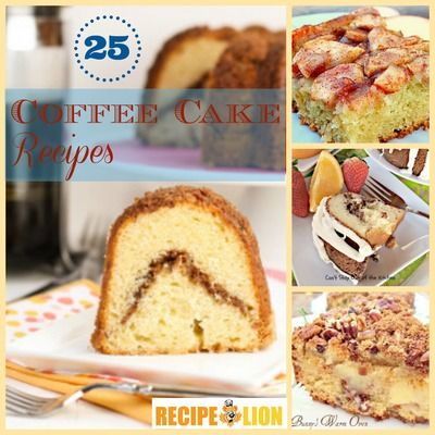 The 25 Best Coffee Cake Recipes from RecipeLion. Cinnamon coffee cake, Bisquick coffee cake, sour cream coffee cake, and coffee cake for one. #recipe #breakfast #brunch