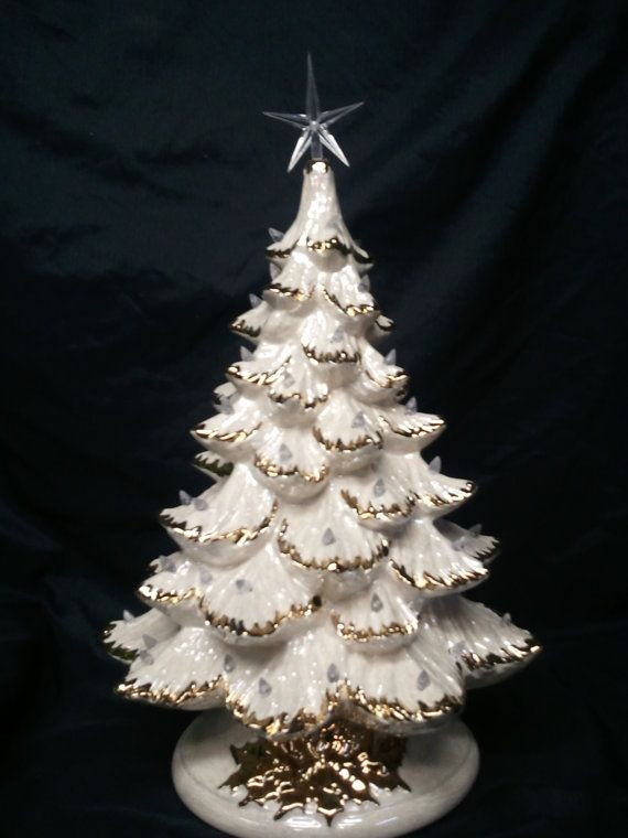 "Gold or Silver Tips-16""-18"" Tall- Full Christmas Tree-Light Kit Base-White with Mother of Pearl-Ceramic-Made to Order"