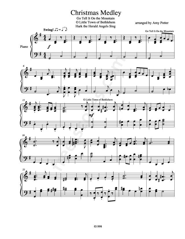 Free sheet music : Traditional - Christmas Medley (Piano solo)