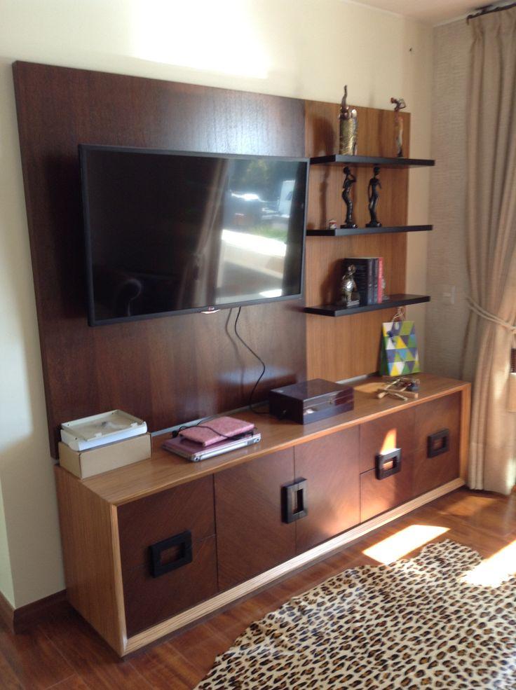 Muebles para tv en madera de cedro y chapa de zebrano con ajustes de chapas tiradores y - Muebles de chapa ...