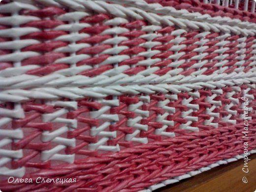Поделка изделие Плетение КОРОБКА в прихожую под разные принадлежности Трубочки бумажные фото 4
