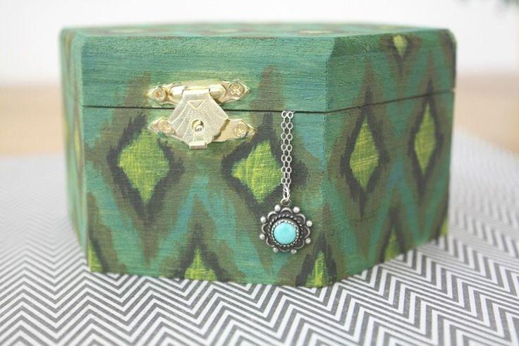 DIY Hand Painted Ikat Jewelry Box