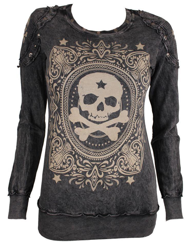 Long black skull dress shirt