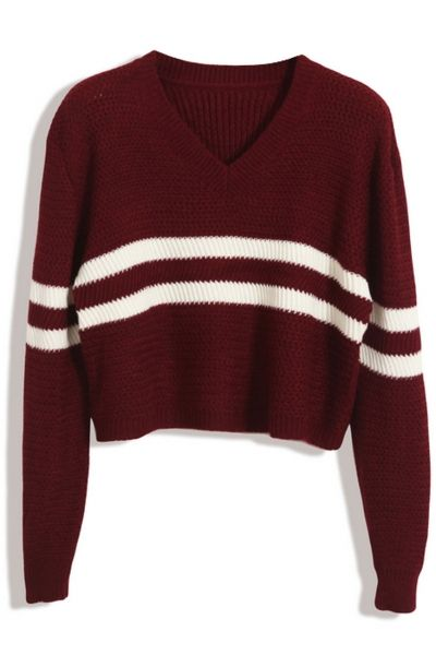 Sweet Striped Knit Cropped Sweater
