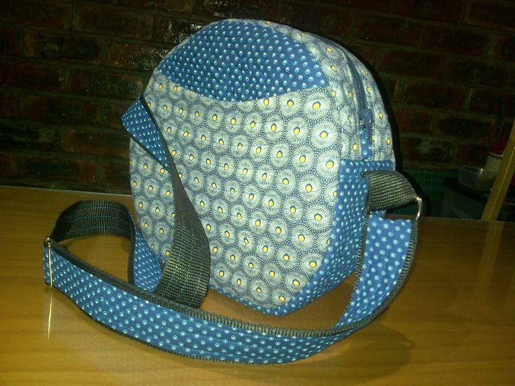 Handmade handbag blue and yellow shweshwe