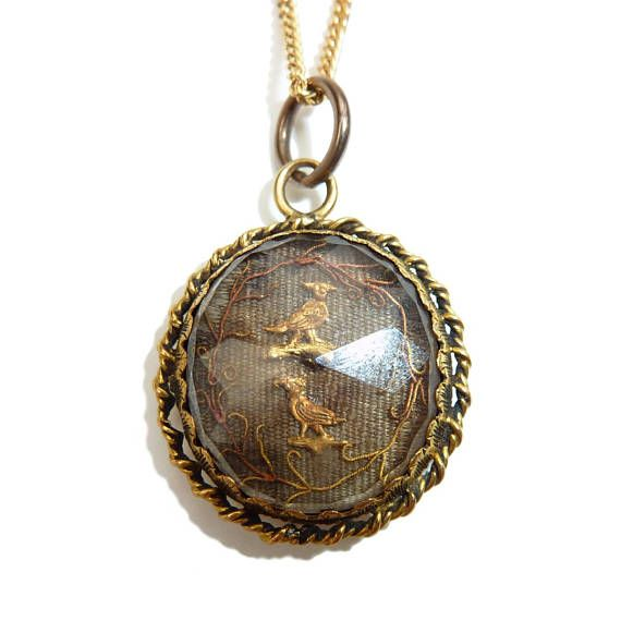 Rare Stuart Crystal Pendant - Two Birds Set Under Faceted Rock Crystal Quartz With Twisted Gold Border Circa 1680