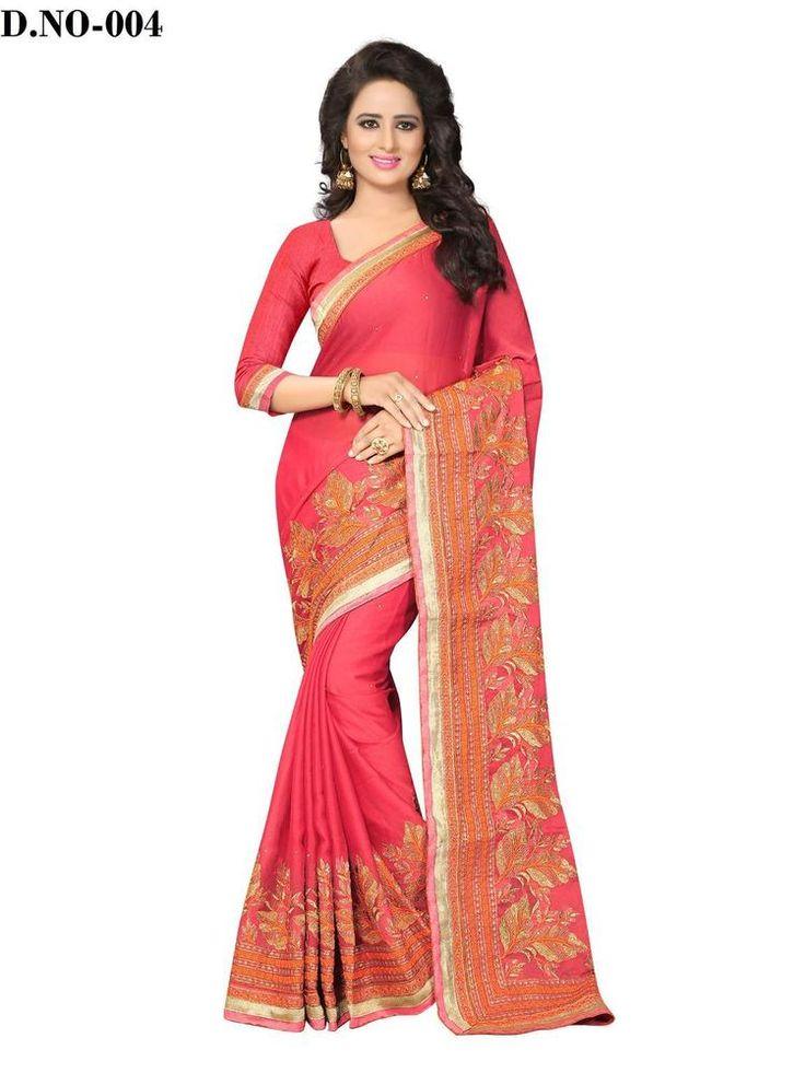 New Indian Designer Chiffon Ethnic Wear Bollywood Saree Party Wear Pink Color #RadhaKrishnaExports #BollywoodSaree #PartyWear