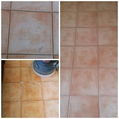 Before and After Terracotta Tile & Grout Cleaning