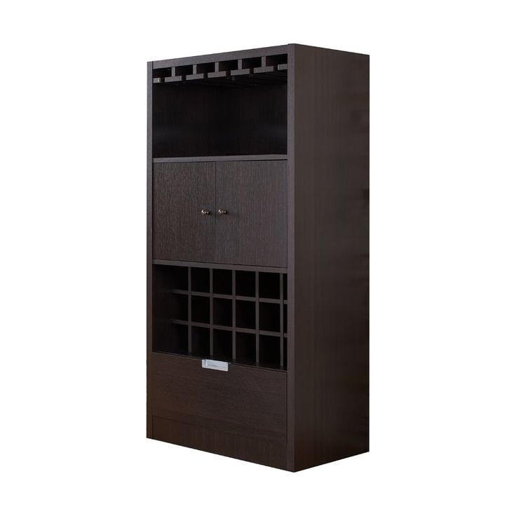 A stylish cabinet to store and display your wine collection, the Shiloh Wine Cabinet is an essential addition to your kitchen and dining space. This piece displays an 18 bottles capacity and   built-in glass rack to create a gorgeous display. A spacious cabinet offers room to hold additional bottles of spirits or dinnerware, with a magnetic latch close for convenience. The bottom drawer pulls out effortlessly on double metal glides, providing easy access discreet storage for dining linens…