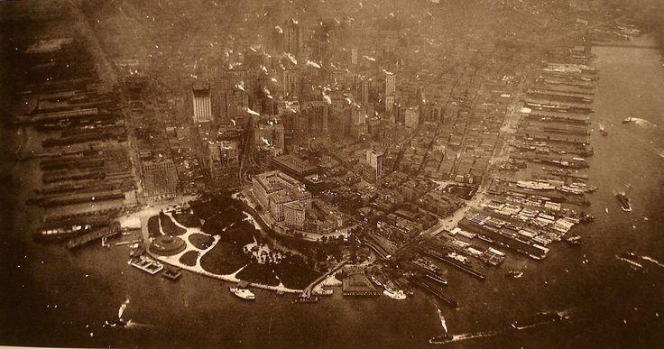 First aerial photograph taken of Lower Manhattan in 1922 - Imgur